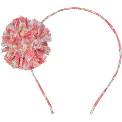 Liberty pink headband with pom pom hair accessory for girls