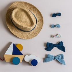 Set blue bow hair clip little girls women accessories