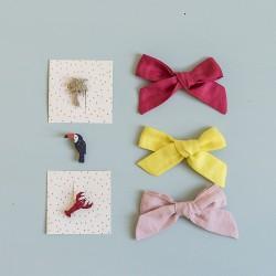 Large pink linen bow hair clip girls women