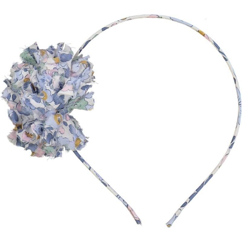 Serre-tête cheveux liberty pompon fille bleu denim