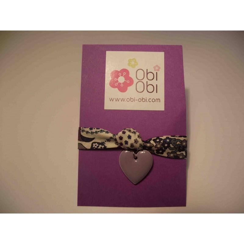 Bracelet enfant Liberty Happy Lavande et coeur émaillé mauve