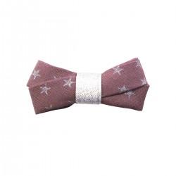 Barrette noeud glitter - figue étoiles argentées