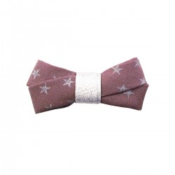 Glitter ribbon Hair clip - figue with golden stars
