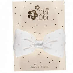 Child Hair clip - Duval White Silver Dots