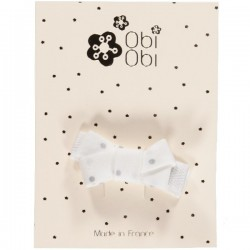 Baby Hair clip - White Silver Dots