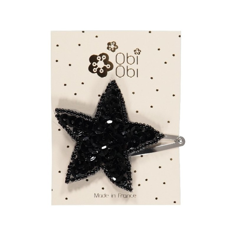 Black sequin star hair clip