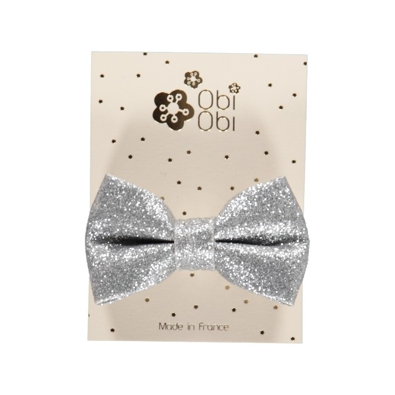 Silver Glitter Bow Hair Clip
