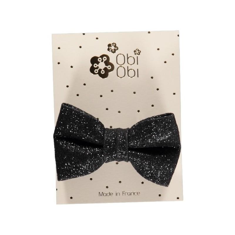 Black Glitter Bow Hair Clip