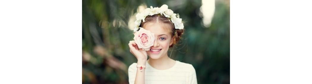 Couronnes de fleurs cheveux pour mariage, communion, cortège